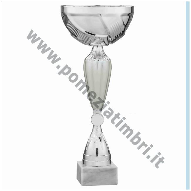 Targhetta Personalizzata Omaggio Premiazioni Sportive Trofeo tecnocoppe Coppa in ABS Cromato e Decoro Traforato H 26,00 cm